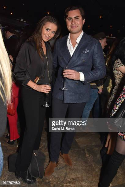 Geo Rushby and Raef Bjayou attend Bunga Bunga Covent Garden's 1st birthday party on January 31 2018 in London England