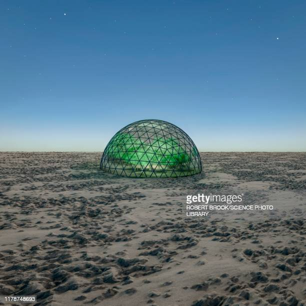 geodesic dome in desert, illustration - dome stock pictures, royalty-free photos & images