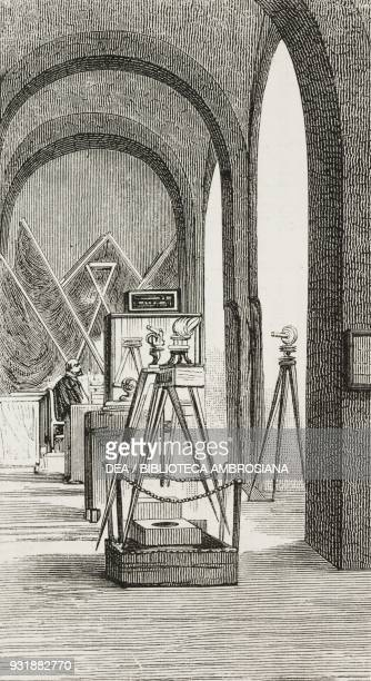 Geodetic instruments hall at the Italian engineers and architects Congressexhibition September Naples drawing by Edoardo Matania engraving by Canedi...