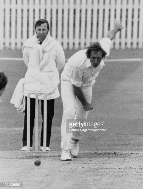 Geoff Arnold bowling for England during the 1st Test match between England and New Zealand at Trent Bridge in Nottingham, 12th June 1973. The umpire...