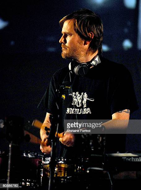 Geoff Barrow of Portishead performs at Apollo on April 9, 2008 in Manchester, England.