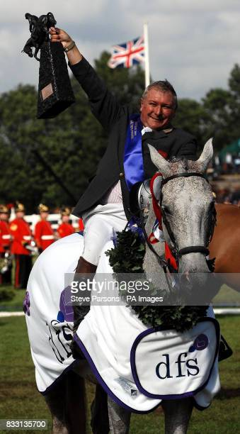 Geoff Billington on board Cassabachus wins the DFS Derby at The All England Jumping Course at Hickstead, West Sussex.
