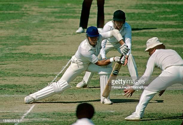 Geoff Boycott batting Bruce Laird and Allan Border in close attendance England v Australia Centenary Test Lord's Aug 1980