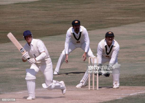 Geoff Boycott batting for England during the 4th Test match between England and Australia at Edgbaston, Birmingham, 30th July 1981. The slip fielder...