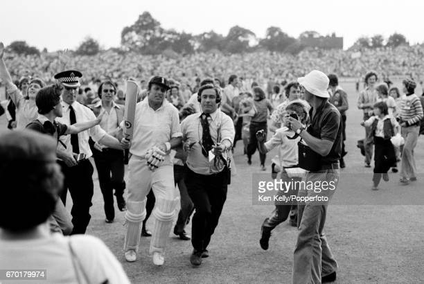 Geoff Boycott of England leaves the field at the end of play after completing his 100th first class century during the 4th Ashes Test match between...