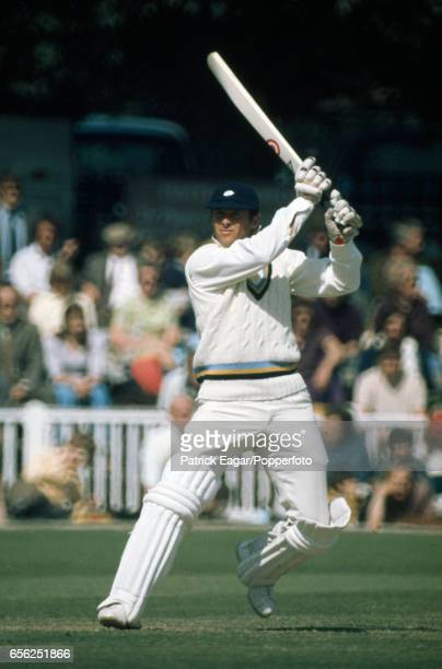 Geoff Boycott, wearing his Yorkshire kit, batting for England during his innings of 160 in the Test Trial match between England and The Rest at New...