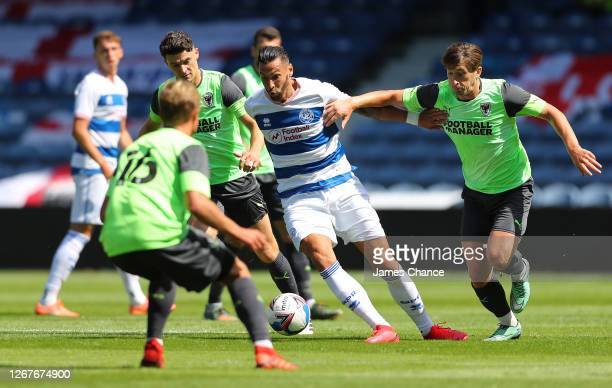 Geoff Cameron of Queens Park Rangers runs with the ball during the Pre-Season Friendly between Queens Park Rangers and AFC Wimbledon at The Kiyan...