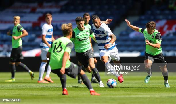 Geoff Cameron of Queens Park Rangers runs with the ball during the PreSeason Friendly between Queens Park Rangers and AFC Wimbledon at The Kiyan...