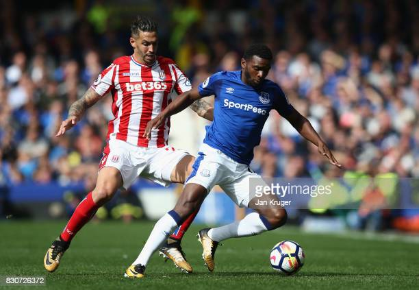 Geoff Cameron of Stoke City and Cuco Martina of Everton battle for possession during the Premier League match between Everton and Stoke City at...