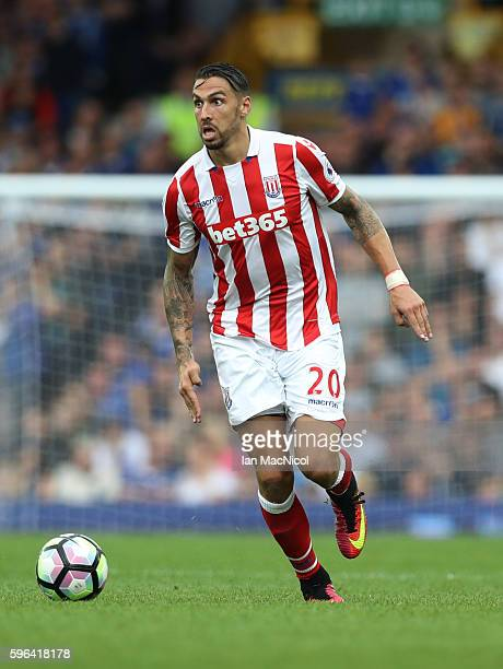 Geoff Cameron of Stoke City controls the ball during the Premier League match between Everton and Stoke City at Goodison Park on August 27 2016 in...