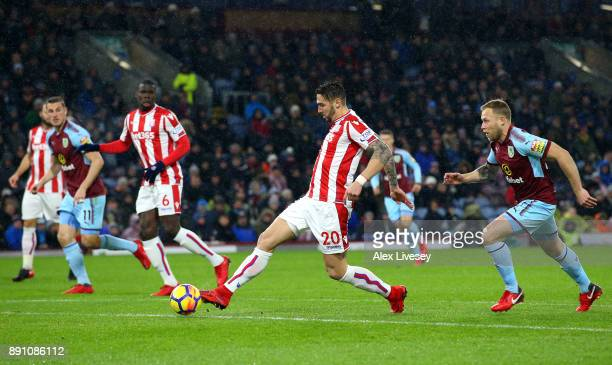 Geoff Cameron of Stoke City controls the ball during the Premier League match between Burnley and Stoke City at Turf Moor on December 12 2017 in...