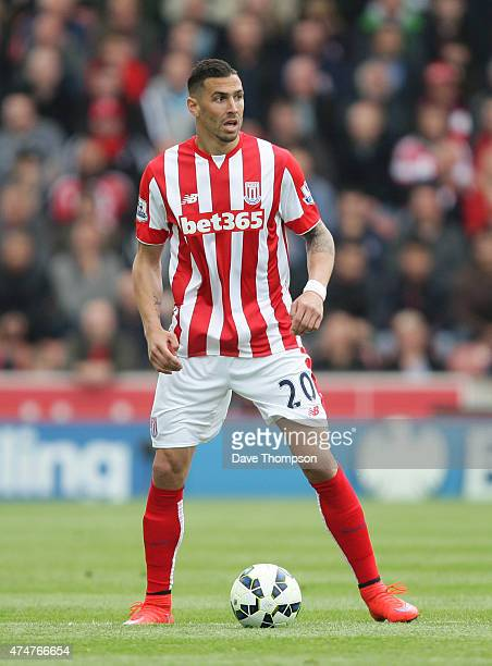 Geoff Cameron of Stoke City during the Barclays Premier League match between Stoke City and Liverpool at the Britannia Stadium on May 24 2015 in...