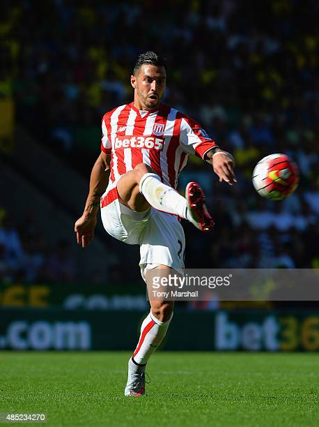 Geoff Cameron of Stoke City during the Barclays Premier League match between Norwich City and Stoke City at Carrow Road on August 22 2015 in Norwich...