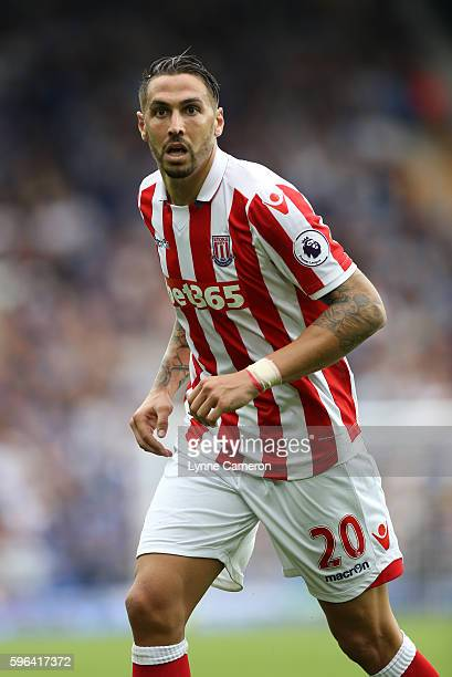 Geoff Cameron of Stoke City during the Premier League match between Everton and Stoke City at Goodison Park on August 27 2016 in Liverpool England