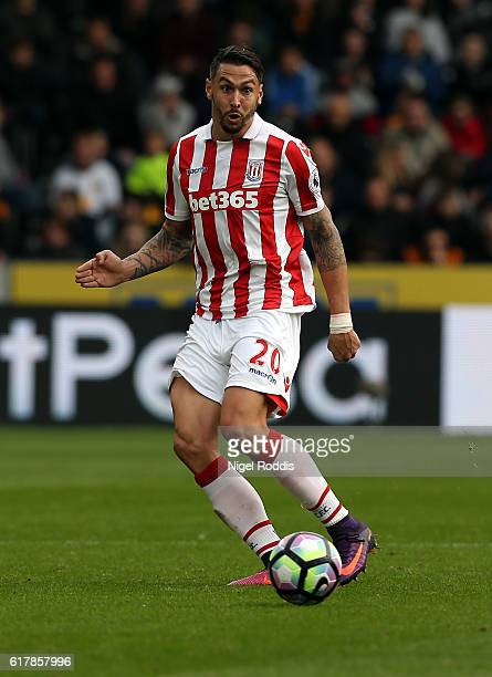 Geoff Cameron of Stoke City during the Premier League match between Hull City and Stoke City at KC Stadium on October 22 2016 in Hull England