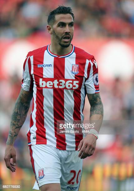 Geoff Cameron of Stoke City during the Premier League match between Stoke City and Arsenal at Bet365 Stadium on May 13 2017 in Stoke on Trent England