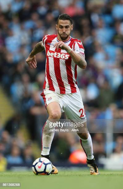 Geoff Cameron of Stoke City during the Premier League match between Manchester City and Stoke City at Etihad Stadium on October 14 2017 in Manchester...