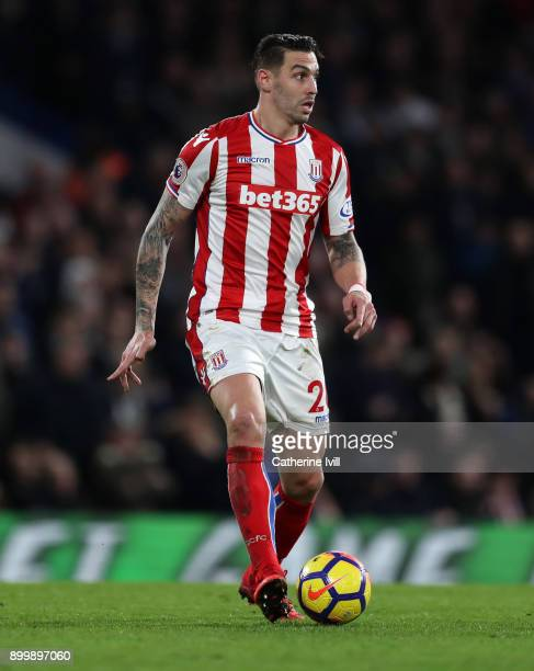 Geoff Cameron of Stoke City during the Premier League match between Chelsea and Stoke City at Stamford Bridge on December 30 2017 in London England