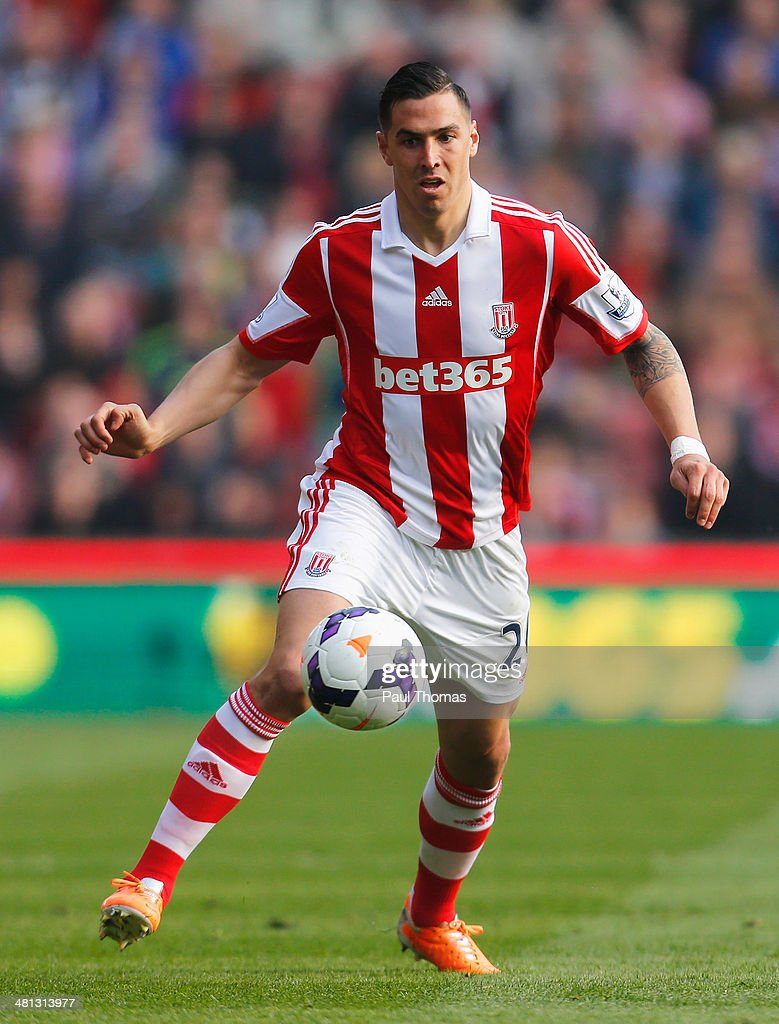 Geoff Cameron of Stoke City in action during the Barclays Premier League match between Stoke City and Hull City at Britannia Stadium on March 29, 2014 in Stoke on Trent, England.