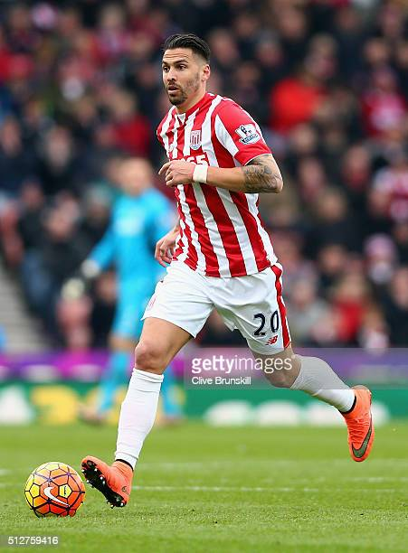 Geoff Cameron of Stoke City in action during the Barclays Premier League match between Stoke City and Aston Villa at Britannia Stadium on February 27...