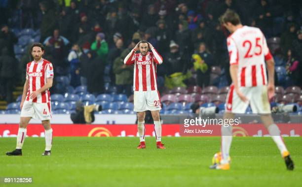 Geoff Cameron of Stoke City looks dejected after Stoke City concede during the Premier League match between Burnley and Stoke City at Turf Moor on...