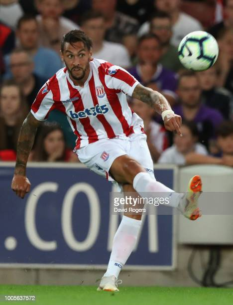 Geoff Cameron of Stoke City passes the ball during the preseason friendly match between Stoke City and Wolverhampton Wanderers at the Bet365 Stadium...