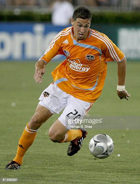 Geoff Cameron of the Houston Dynamo controls the ball against the New York Red Bulls on May 31, 2008 at Robertson Stadium in Houston, Texas.