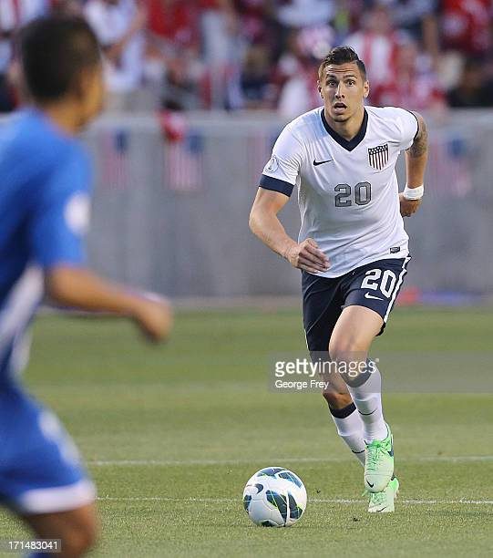 Geoff Cameron of the United States brings the ball down field during a game against Honduras during the second half of an World Cup Qualifying March...