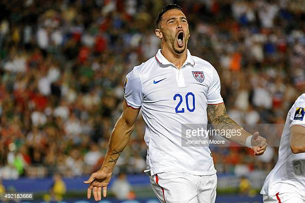 Geoff Cameron of the United States celebrates after scoring against Mexico during the 2017 FIFA Confederations Cup Qualifier at Rose Bowl on October...