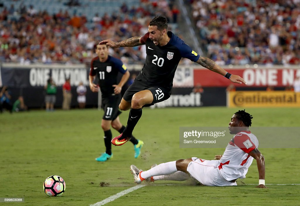Geoff Cameron #20 of the United States jumps over Mekeil Williams #17 of Trinidad & Tobago during the FIFA 2018 World Cup Qualifier against Trindad & Tobago at EverBank Field on September 6, 2016 in Jacksonville, Florida.