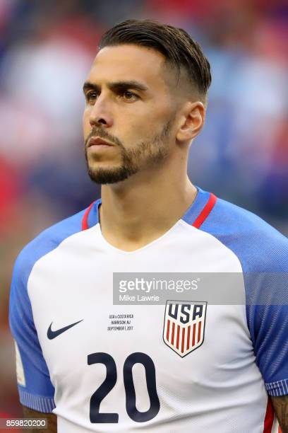 Geoff Cameron of the United States looks on during the national anthem before the game against Costa Rica during the FIFA 2018 World Cup Qualifier at...