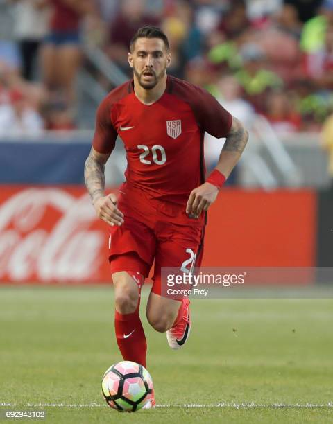 Geoff Cameron of the United States move the ball down field during the first half of an international friendly soccer game on June 3 2017 at Rio...