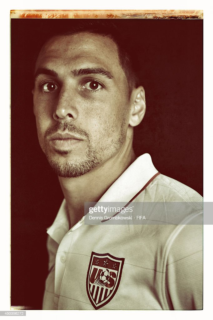 Geoff Cameron of the United States poses during the Official FIFA World Cup 2014 portrait session on June 9, 2014 in Sao Paulo, Brazil.