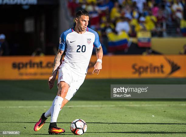 Geoff Cameron of United States during the Copa America Centenario Group A match between the United States and Columbia at Levi's Stadium on June 3...