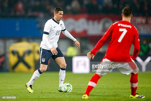 Geoff Cameron of USA competes for the ball with Marko Arnautovic of Austria during the International friendly match between Austria and USA at the...