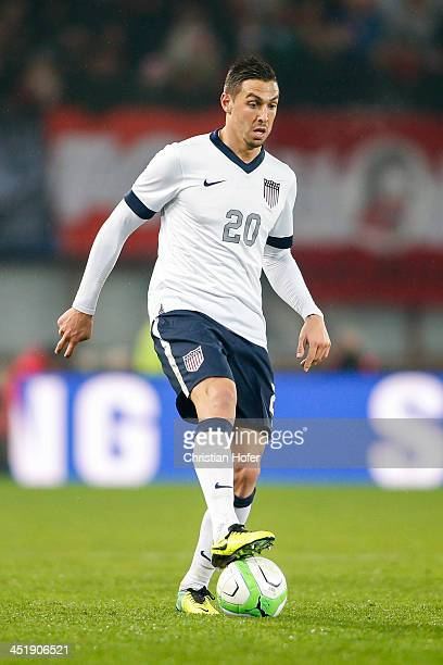 Geoff Cameron of USA controls the ball during the International friendly match between Austria and USA at the ErnstHappel Stadium on November 19 2013...