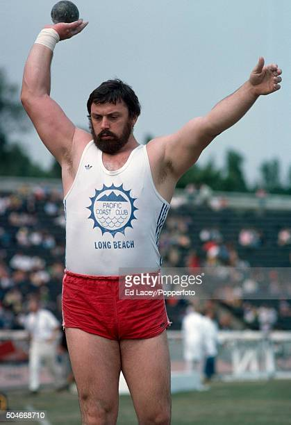 Geoff Capes of Great Britain competing in the men's shot put event during the AAA Championships at Crystal Palace in London on 14th August 1976