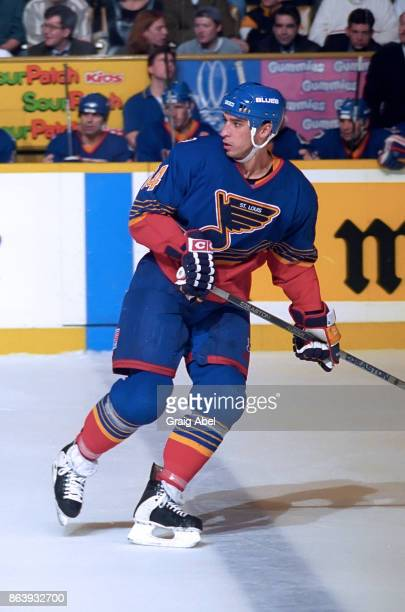 Geoff Courtnall of the St Louis Blues skates against the Toronto Maple Leafs during NHL game action on November 28 1995 at Maple Leaf Gardens in...