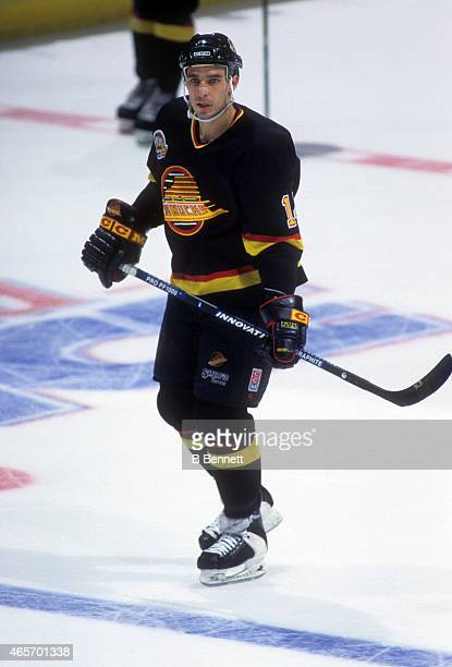Geoff Courtnall of the Vancouver Canucks skates on the ice during an NHL game against the Los Angeles Kings on February 18 1995 at the Great Western...