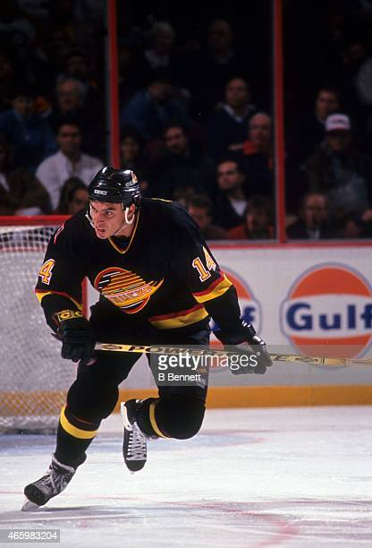 Geoff Courtnall of the Vancouver Canucks skates on the ice during an NHL game against the Philadelphia Flyers on November 7 1993 at the Spectrum in...