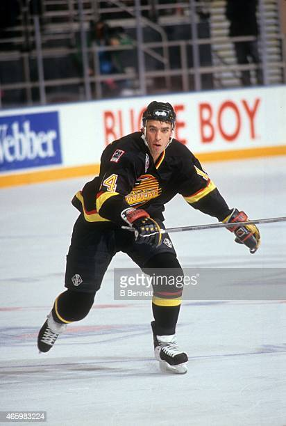 Geoff Courtnall of the Vancouver Canucks skates on the ice during an NHL game against the New York Rangers on January 11 1993 at the Madison Square...
