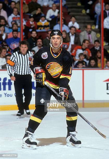 Geoff Courtnall of the Vancouver Canucks skates on the ice during an NHL game against the Philadelphia Flyers on October 22 1992 at the Spectrum in...