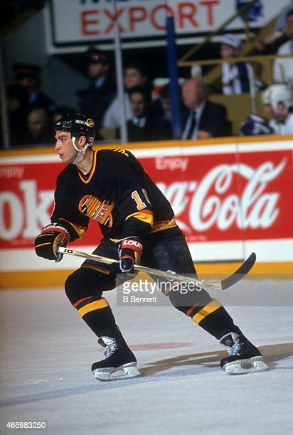 Geoff Courtnall of the Vancouver Canucks skates on the ice during an NHL game against the Toronto Maple Leafs on March 7 1991 at the Maple Leaf...