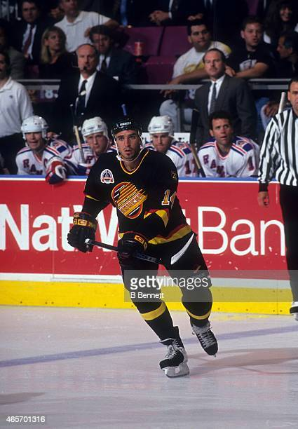 Geoff Courtnall of the Vancouver Canucks skates on the ice during the 1994 Stanley Cup Finals in June 1994 at the Madison Square Garden in New York...