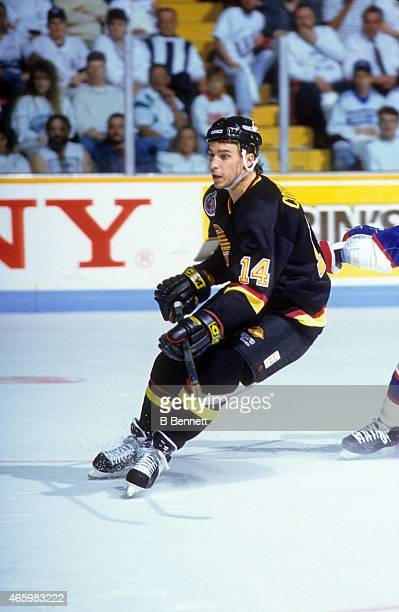 Geoff Courtnall of the Vancouver Canucks skates on the ice during the 1992 Division SemiFinals against the Winnipeg Jets in April 1992 at the...