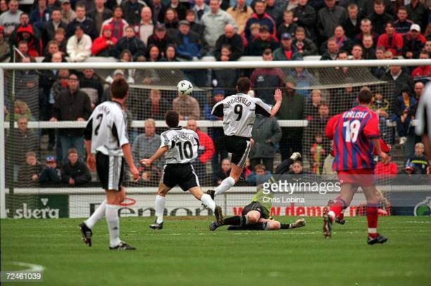Geoff Horsefield scores for Fulham during the match between Fulham v Crystal Palace in the Nationwide League Division One played at Craven Cottage...