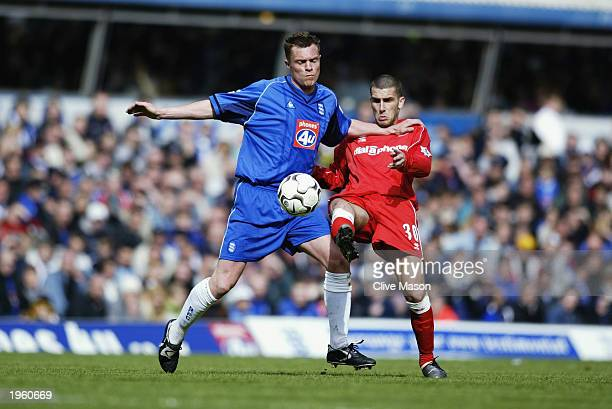 Geoff Horsfield of Birmingham City uses his strength to win the ball from Stuart Parnaby of Middlesbrough during the FA Barclaycard Premiership match...