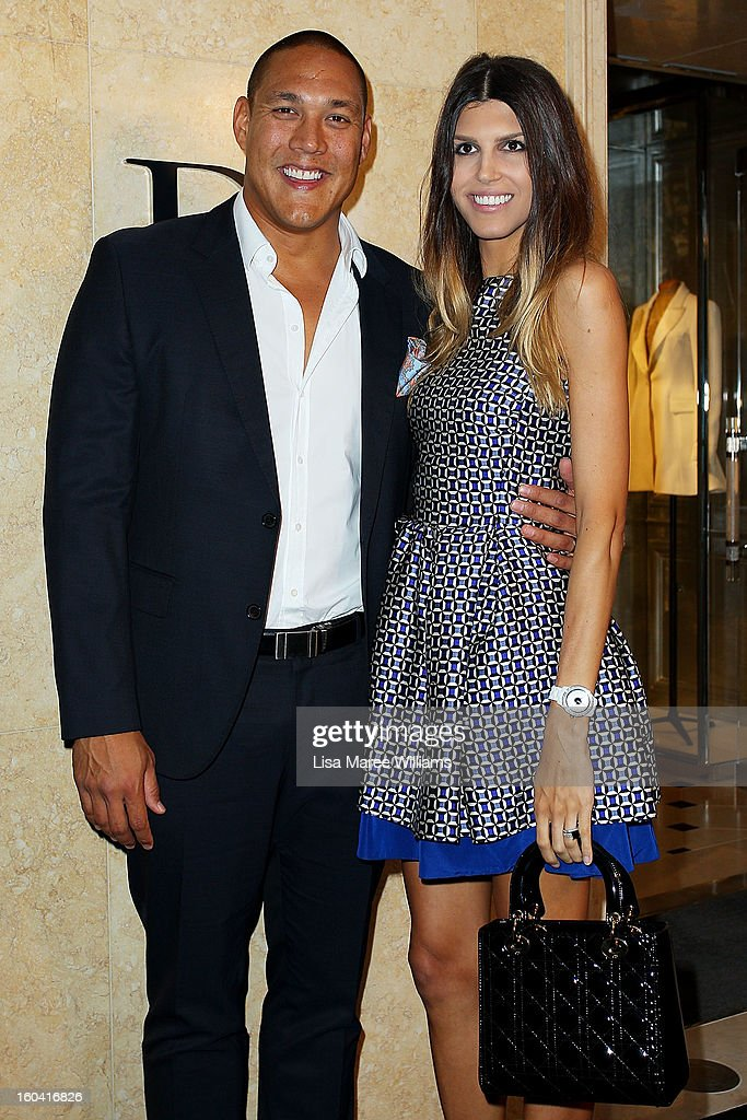 Geoff Huegill and Sara Huegill attend the opening of the Christan Dior Sydney store on January 31, 2013 in Sydney, Australia.
