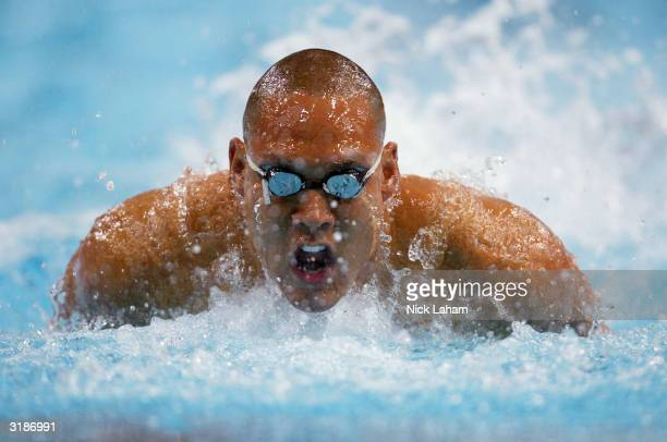 Geoff Huegill of Australia in action in the 50m Butterfly semi final during day 6 of the Telstra Olympic Team Swimming Trials at the Homebush Aquatic...