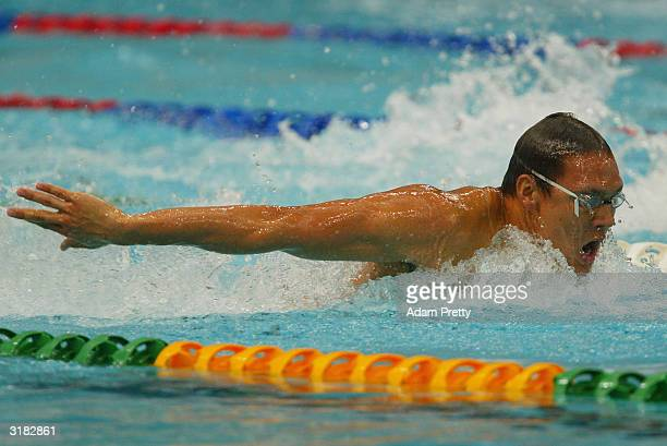 Geoff Huegill of Australia swims the mens 100m butterfly during day 6 of the Telstra Olympic Team Swimming Trials at Homebush Aquatic centre on April...